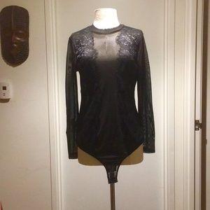 plus Size Sheer Lace Bodysuit